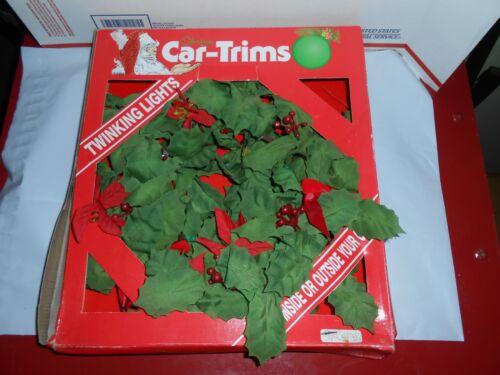 "RARE VTG 1990 GEMMY CHRISTMAS CAR-TRIMS 12"" TWINKLING LIGHTS WREATH CAR DECOR"