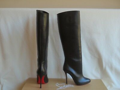 $1395 Christian Louboutin Black Leather Vitish 100 Knee High Tall Boots 36.5 New
