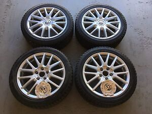225/45/17 Volkswagen Rims 5x112 with Continental Winter Tires