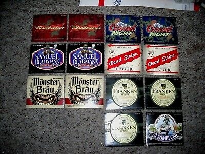 LOT OF (14) Scary/Spooky Halloween Beer Bottle Labels-Bloodweiser, Cursed Light