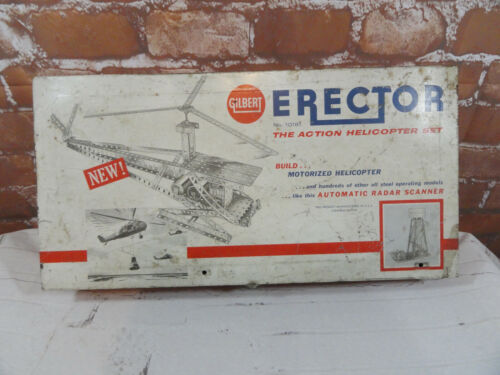 VTG Gilbert Erector The Action Helicopter Metal Case Only~used~Decor~graphics