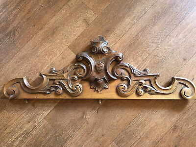 French Antique Wooden Carved Pediment 95 cm Long