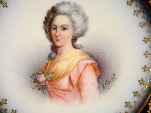 "Antique Sevres Artist Signed Hand Painted Mme Elizabeth Plate 9 3/8"" c1846"