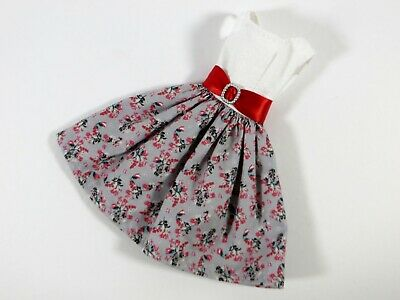 #404 GREY FLORAL BELTED DRESS BARBIE HANDMADE OOAK VINTAGE SILKSTONE FASHION