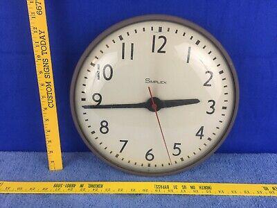 "Vintage Simplex 13"" Glass Metal Wall School Clock 7645"
