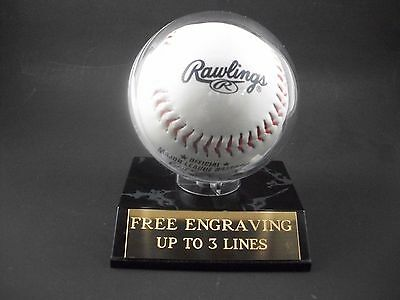 Custom Engraved Baseball Holder, Display Case With Free (Free Display Case)