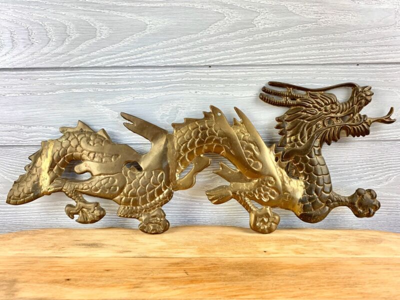 """VINTAGE SOLID BRASS DRAGON FIGURE WALL HANGINGS 20"""""""