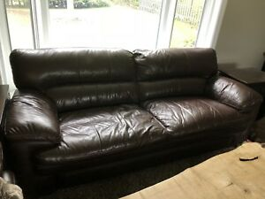 Genuine leather la-z-boy couch and oversized chair set