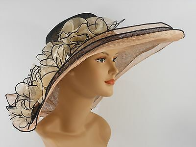 Church Kentucky Derby Wedding Sinamay Wide Brim Dress Hat 2974 Black & Champagne