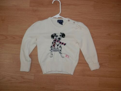 Ralph Lauren Logo Adorable Size 4/4T Girls Puppy Dog Pullover Knit Sweater 3507