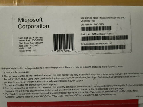 WINDOWS PRO 10  64 bit dvd with product key COA pro full version