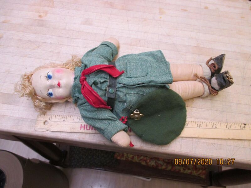 Vintage Girl Scout Doll Cloth Green Uniform W/ Pin / Cookie Cutter