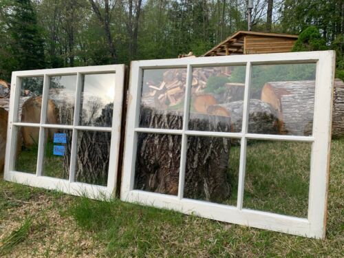2 - 32 x 25-1/4 Vintage Window Bottom sashes old 6 pane From 1946  Arts & Craft