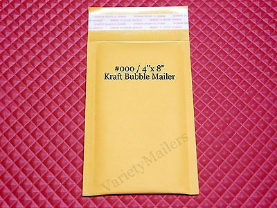 20 Small Kraft Bubble Mailers 000 4x8 Self-sealing Padded Envelopes