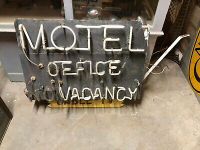 Original Vintage Early MOTEL OFFICE VACANCY CABLE TV Sign NEON Old Gas Oil BATES