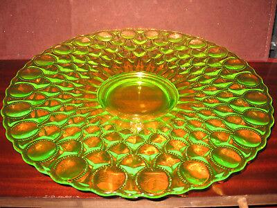 Vaseline uranium glass cake serving Plate Platter pedestal tray desert sandwich