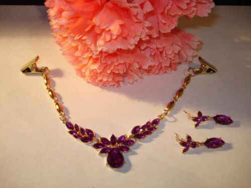 Purple Rhinestone Teardrop Sweater Dress Clip Guard n Post Earrings