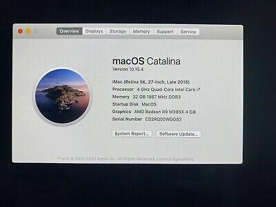 "iMac 5k 27"" i7 4Ghz 32GB RAM 512GB SSD AMD R9 M395X 4GB GDDR5"