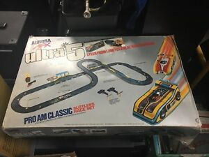 Vintage electric race track with two cars