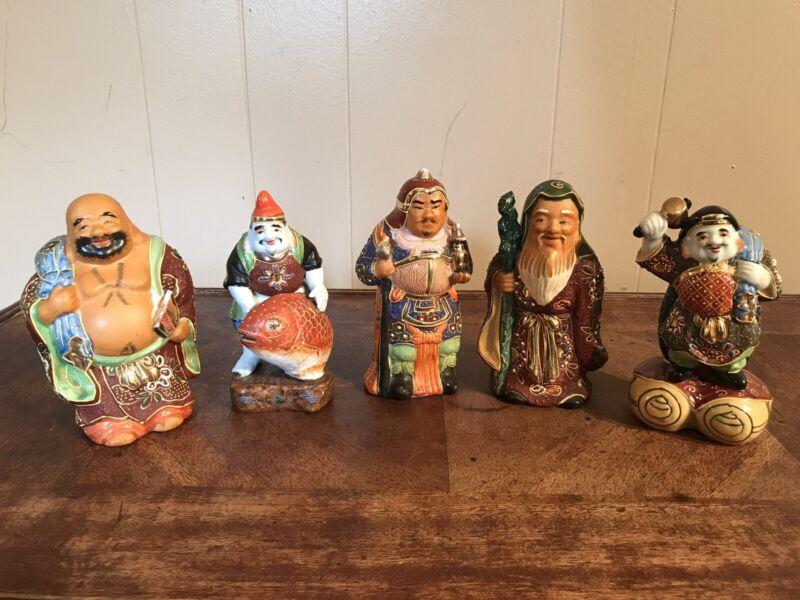 Vintage Japanese Kutani Figurines Lucky Gods Warriors Asian Set of 5