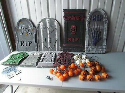 Plastic Tombstones Halloween (HALLOWEEN LOT 8 FOAM TOMBSTONES 3 SETS STRING LIGHTS PLASTIC PUMPKINS)