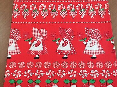 VTG CHRISTMAS WRAPPING PAPER GIFT WRAP DUTCH GIRL QUILT CANDY CANE APPLE NOS - Apple Gift Wrap