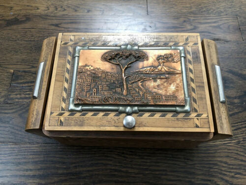 Unique Art Deco Humidor/Smoking Box With Embossed Copper Plaque.