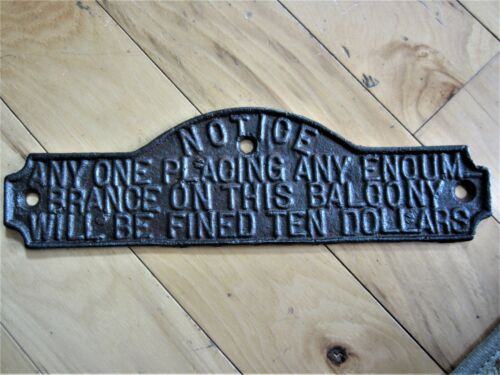 Antique Cast Iron Warning Sign Victorian $10 Fine Plaque Industrial Notice Plate