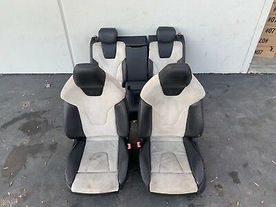 08-16 AUDI A5 S5 COUPE LEATHER/SUEDE SEAT SET FRONT REAR ASSEMBLY BLACK/WHITE