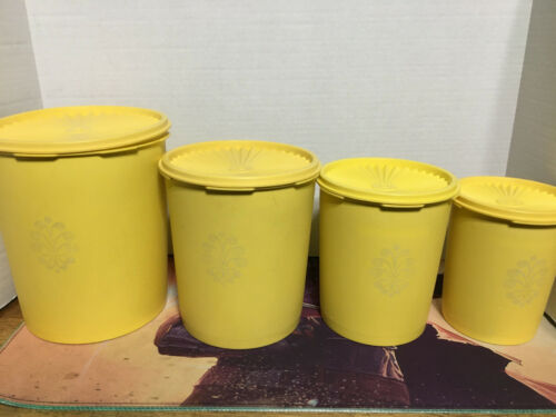 Vintage Tupperware yellow canister set of four w/ lids 805-5 807-7 809-3 811-13