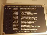 Austin 7 Seven Box Car No Number badge plate 1928-1934 Aluminium