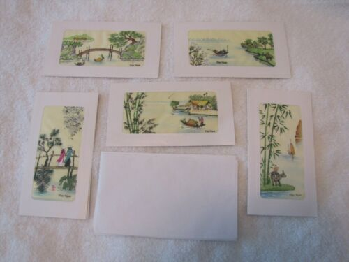VINTAGE - Set of 5 - Purchased in Vietnam - Screen Printed SILK Pictures/Cards
