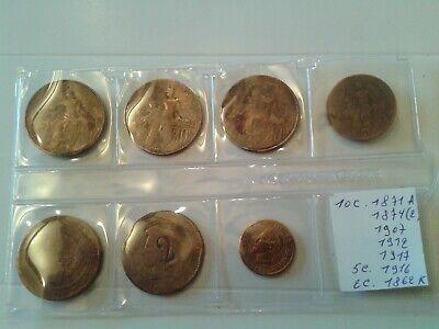 7 pièces de monnaies France ,2 ,5 , 10 centimes de 1862 a 1917.