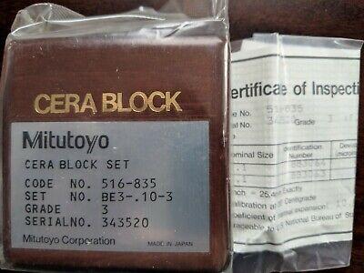 Mitutoyo 516-835 Grade 3 Gauge Block Set Be3 - .10 -3
