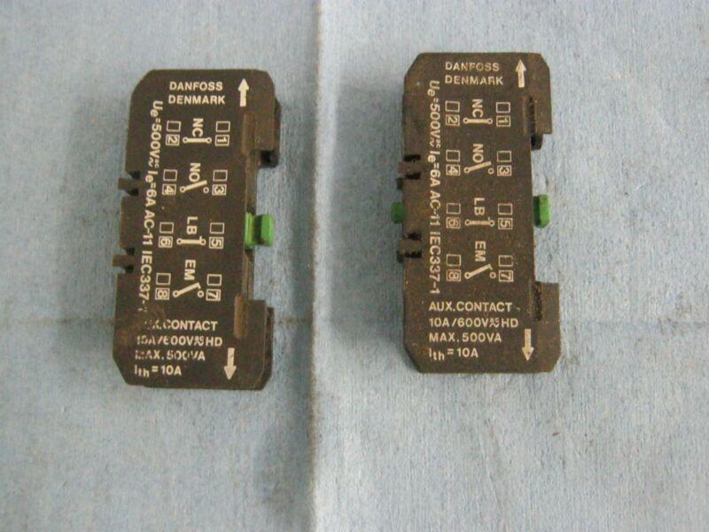 Lot of Danfoss Auxiliary Contactors.  A600, Max. 500VA. Green Reset.   Qty. 2.<
