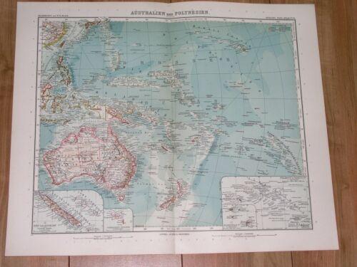 1912 MAP OF PACIFIC OCEANIA AUSTRALIA NEW ZEALAND HAWAII NEW CALEDONIA GUAM