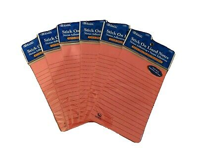 Llned Sticky Note Pads  6 Pack Lot Neon Pink 50 Notes Each Pad Nice New