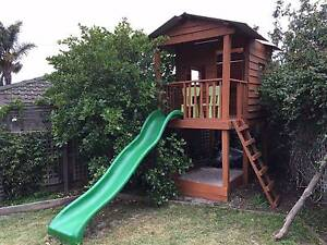 Timber cubby house with slide and sandpit Hampton East Bayside Area Preview