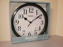 9 5/8 Round Sharp Wall Clock Metal Hands Glass Lens Battery Powered SPC1124A