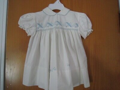Vintage BABY 6-9 Month White & Blue Embroidered SMOCKED DRESS SHIPS FREE