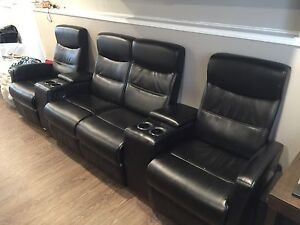 Theatre sofa with cup holders and storage. Reclining!