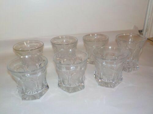 Fostoria COIN GLASS Elegant Glass OLD FASHION TUMBLERS Water Whiskey 6 + 1