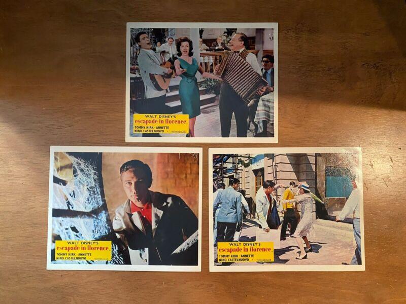 Lot of 3 Vtg Walt Disney ESCAPADE IN FLORENCE Original 8x10 Lobby Cards Annette