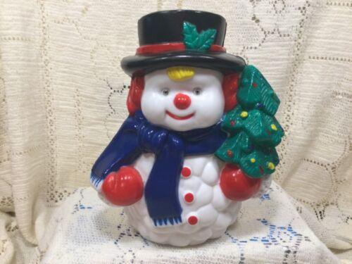 VINTAGE NOMA  LIGHT, BLOW MOLD, SNOWMAN HARD PLASTIC CHRISTMAS TREE LAMP