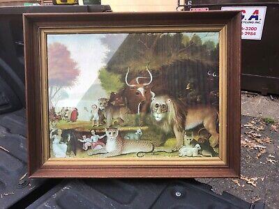 VINTAGE DEER PRINT Forest Landscape Deer By Stream Fall Foliage Goldtone Vintage Wood Frame 11 X 13 12 Wood Bead Inner Border