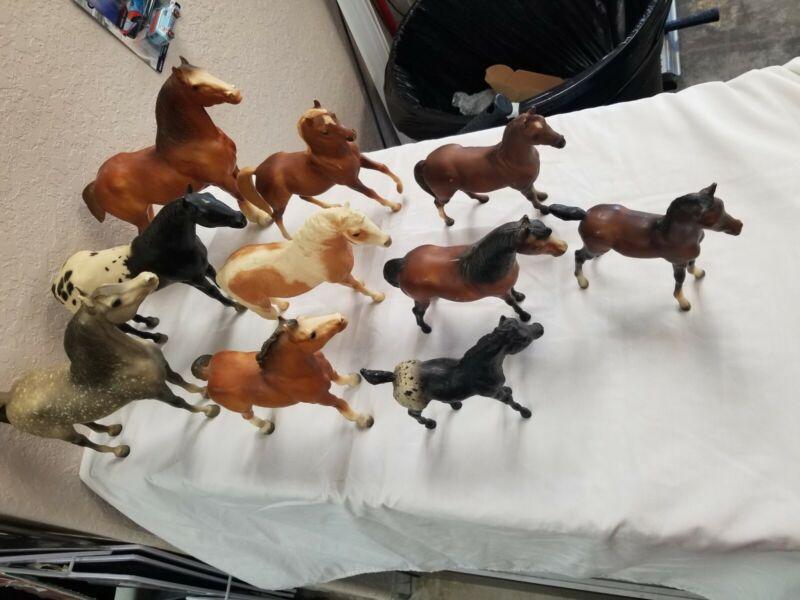 Lot Of 10 Breyer Horses Large Medium Small spoted dark light brown figurine