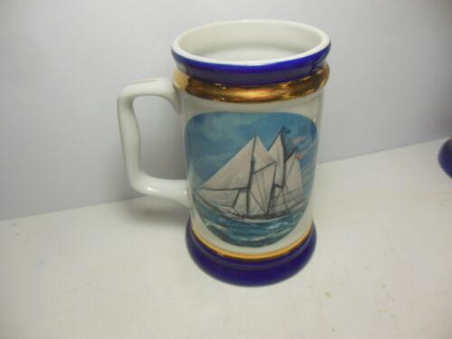 America Tankard Danbury Mint Robert Devereaux Sailing Ship Yacht Stein Mug