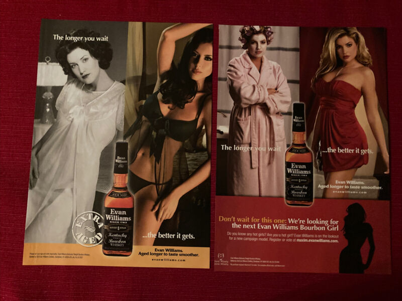(2) Evan Williams Whiskey Sexy Women Lingerie 2008 Ad/Poster Promo Art Ads