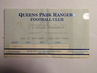 Queens Park Rangers FC - Arsenal FC - 27/04/1994 - Ticket Football England