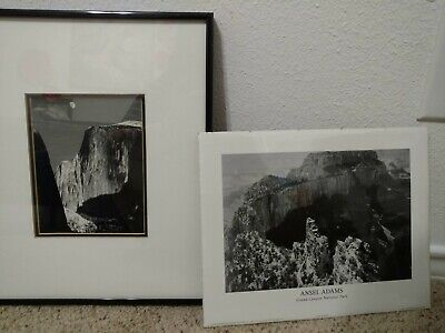 Professionally Framed Moon and Half Dome by Ansel Adams AND Grand Canyon Print ! Moon Half Dome